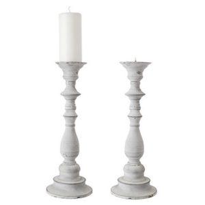 Ljusstake i ljusgrå metall för blockljus