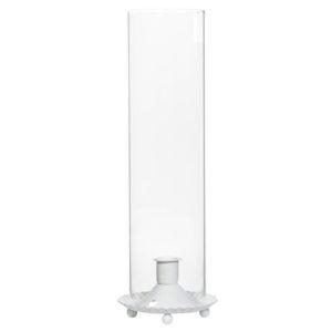 Ljusstake vit med glascylinder