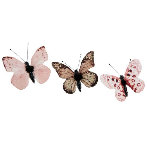 Fjäril clip rosa dekoration