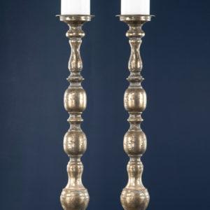 Golvljusstakar för blockljus i guldbrun metall
