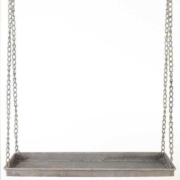 Hängande hylla i grå metall med krokar