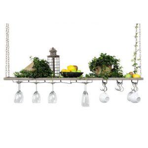 Hängande hylla med krokar och glasupphäng i grå metall