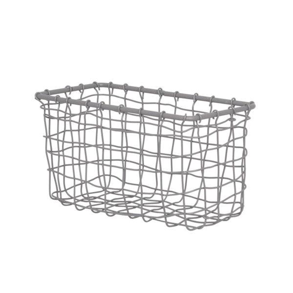 Liten trådkorg i grå metall