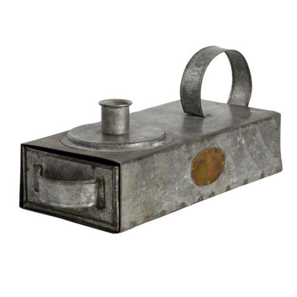Ljushållare ljusstake med låda i zink
