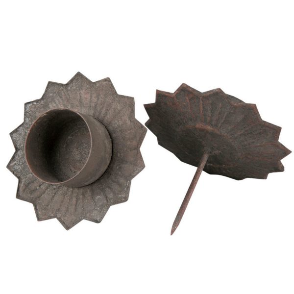 Ljushållare i grå metall för värmeljus