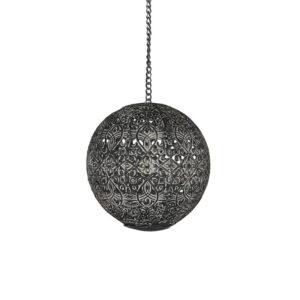 Ljusklot hängdekoration med plats för värmeljus i svart metall