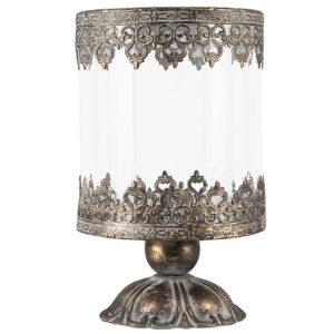 Ljuslykta på fot i guldbrun metall med spetsmönster