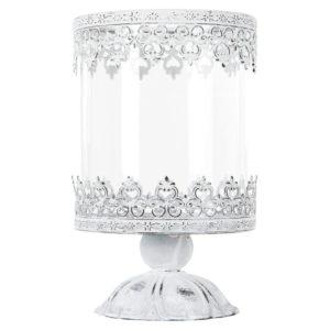 Ljuslykta på fot i vit metall med spetsmönster