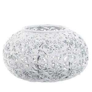 Ljuslykta i metall med vitt mönster