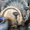 Metallbricka i blågrön färg