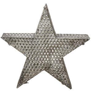 Metallstjärna grå med plats för värmeljus