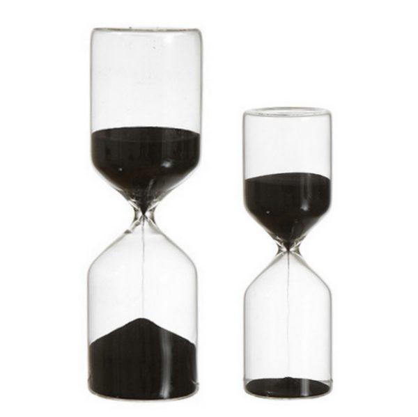 Timglas med svart sand
