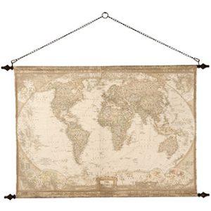 Världskarta globetrotter för vägg i vintagestil