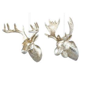 Hjort och älg hängdekoration i glitter