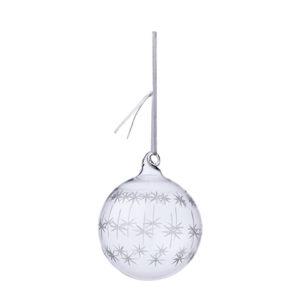 Julgranskula i klarglas med vita stjärnor