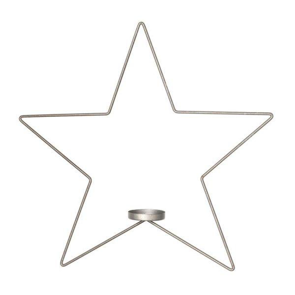 Hängande stjärna i metall med plats för värmeljus