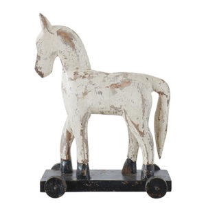 Trähäst troja vit på hjul
