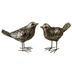 Fågel dekoration guldbrun