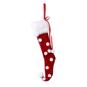 Röd julstrumpa med vita prickar