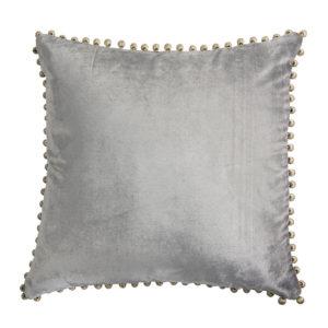 Kuddfodral i grå sammet med pom po