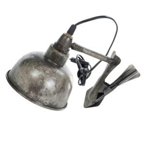 Lampa med klämma i metall industristil