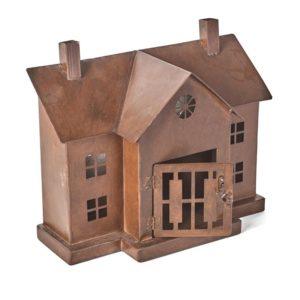 Pepparkakshus i rostrfärgad metall