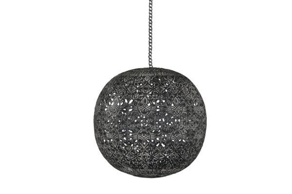 Ljusklot i svart metall med kedja