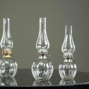 Oljelampa för värmeljus i klarglas med silverdetaljer