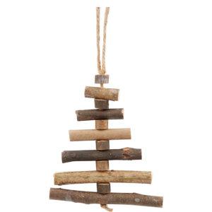 Hängande julgran av pinnar