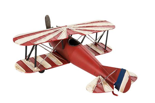 Flygplan i röd vit metall dekoration