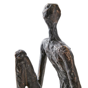 Staty pose sittande man på kub i brons svart metall