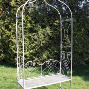 Trädgårdsbänk med båge i metall