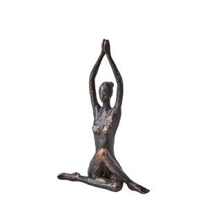 Staty sittande yoga kvinna i metall