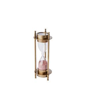 Timglas i mässing med timglas och rosa sand