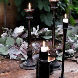 Ljusstake skruvstäd i svart smide