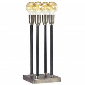 Lampa ljusstake el industri råsilver svart square 47 cm