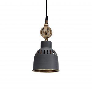 Taklampa fönsterlampa industri grå mässing