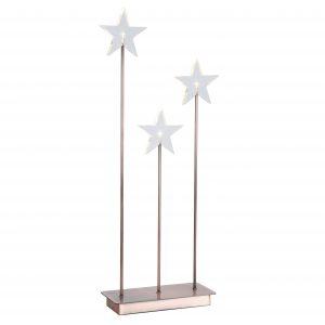 Julstjärna adventsljusstake med plexi stjärnor i koppar metall