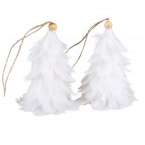 Vit fjädergran hängdekoration julgranspynt