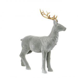 Hjort prydnad i grå velvet med guld horn