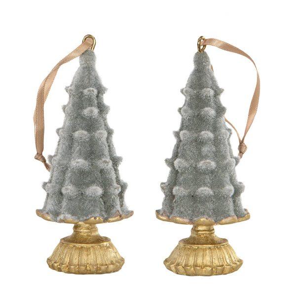 Julgrans dekoration julgranspynt grå velvet