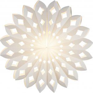 Vit hängande julstjärna i papp med spets mönster