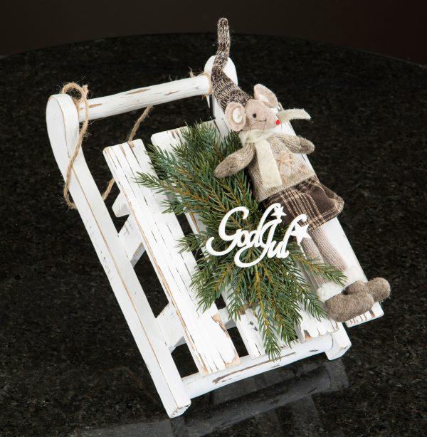 Kälke vit trä jul dekoration