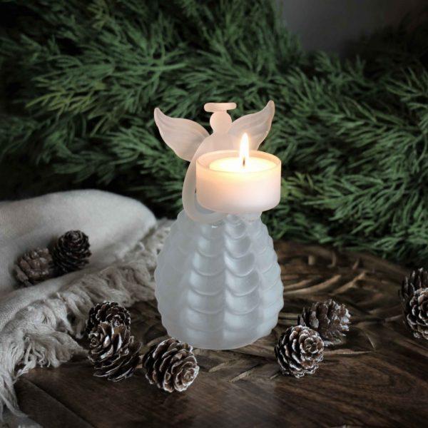 Majas cottage ljuslykta ängel med frostat glas
