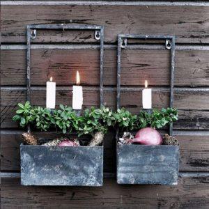Väggljusstake med plantering 2 ljus