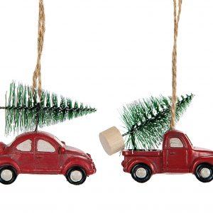 Bil med gran hänge julgranspynt