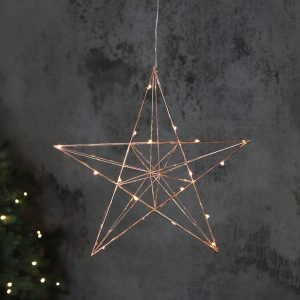Hängande julstjärna i kopparfärg med led