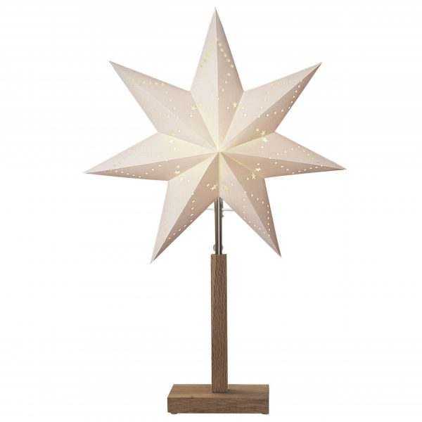 Julstjärna vit på träfot