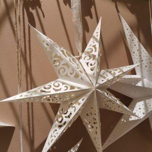 Julstjärna vit spets 45 cm i papper