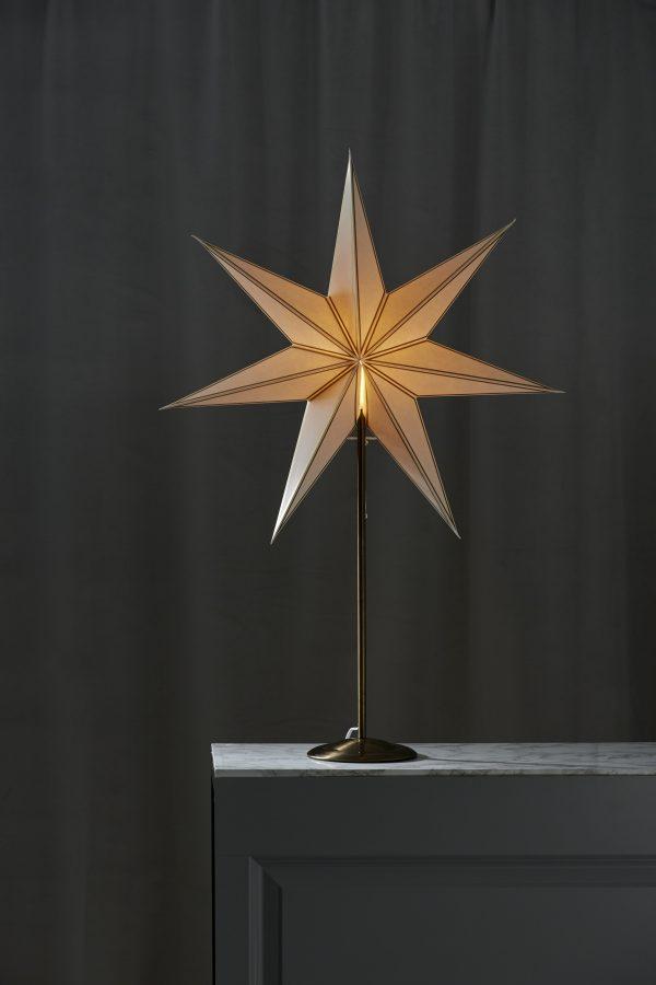 Julstjärna vit på mässing fot